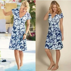 Soft Surroundings Blue Floral Wear Anywhere dress